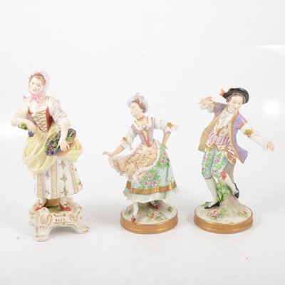 Lot 65 - Pair of Sitzendorf figures and a German figure