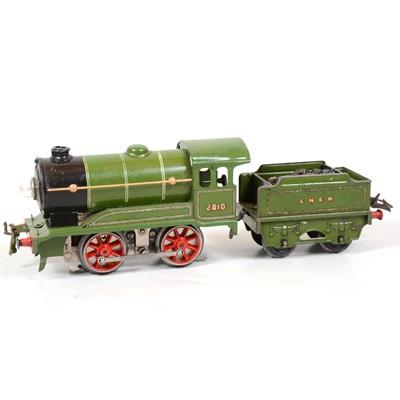 Lot 9 - Hornby O Gauge electric locomotive and tender, E120, 0-4-0, LMS green, 2810, 20v.