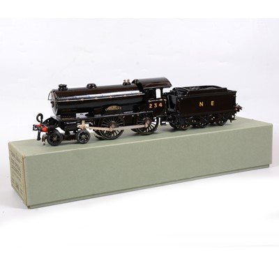Lot 25 - Hornby O gauge model railway locomotive and tender, E220 Special, converted to 20v electric