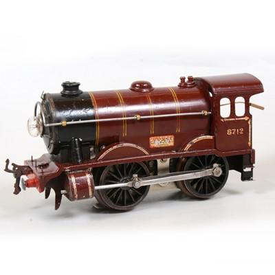Lot 11 - Hornby O gauge electric model railway locomotive, E120, LMS 0-4-0, 8712, maroon