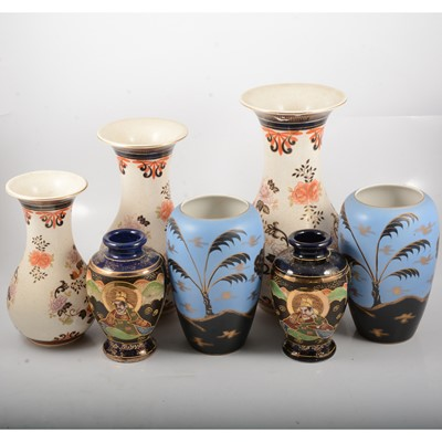 Lot 25 - Pair of Satsuma vases, three modern Chinese vases and a pair of Staffordshire vases