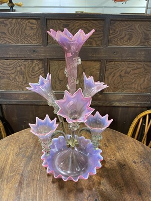 Lot 52 - Victorian pink and green vaseline glass epergne