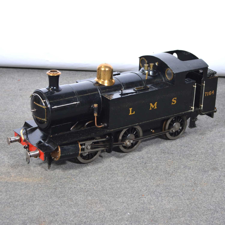 Lot 4 - A well-built 3.5inch gauge live steam tank locomotive, LMS, 7164, 0-6-0, black