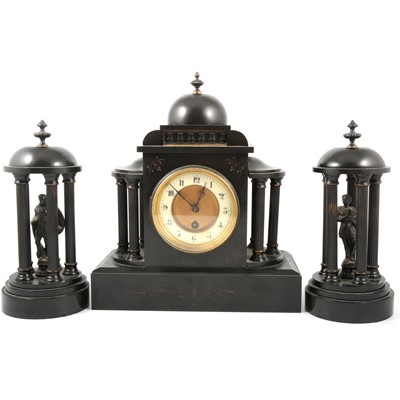 Lot 97 - Late Victorian clock garniture
