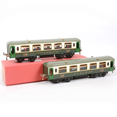 Lot 36 - Two Hornby O gauge No.2 Pullman coaches, green