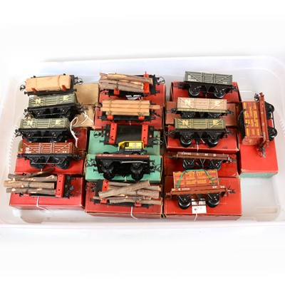 Lot 49 - Sixteen Hornby O gauge model railway low and open wagons