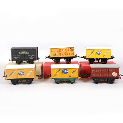 Lot 44 - Six Hornby and kit-built O gauge model railway vans with advertising