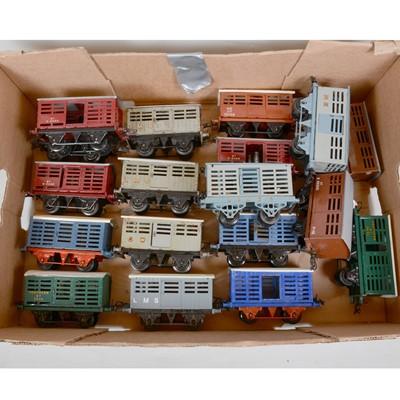 Lot 42 - Eighteen Hornby O gauge model railway milk traffic vans and cattle vans