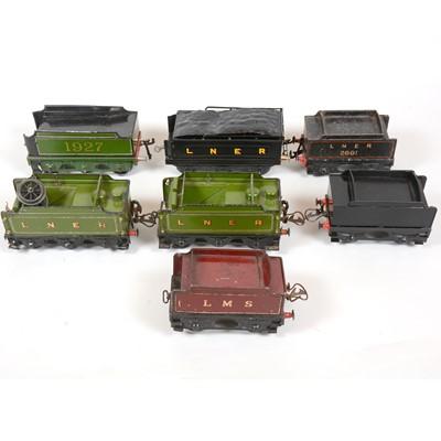 Lot 32 - Seven loose O gauge model railway locomotive tenders mostly Hornby.