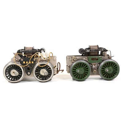 Lot 35 - Two 20v Hornby O gauge electric motor chassis