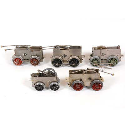 Lot 12 - Six Hornby O gauge model railway clock-work motor chassis for locomotives, all loose.