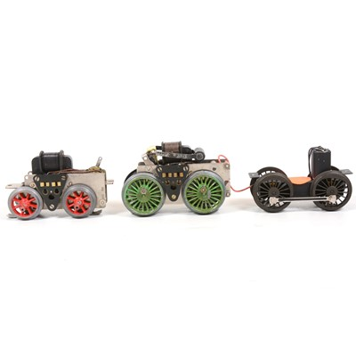 Lot 30 - Three O gauge electric motor chassis.