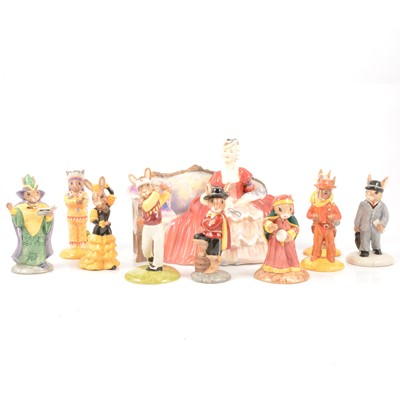 Lot 16 - Nine Royal Doulton Bunnykins figures, and Belle of The Ball