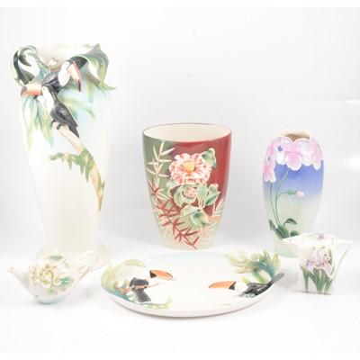 Lot 1 - Franz porcelain Tucan vase, dish and four floral pieces.