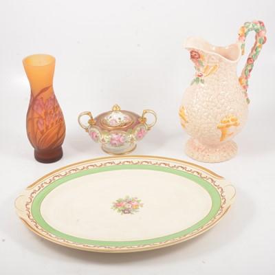 "Lot 15 - Royal Albert ""Old Country Roses"" clock, Nipon lidded vase, Clarice Cliff harvest jug, meat plate."