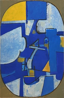 Lot 1123 - Roy Bizley, Unititled abstract. blue and yellow