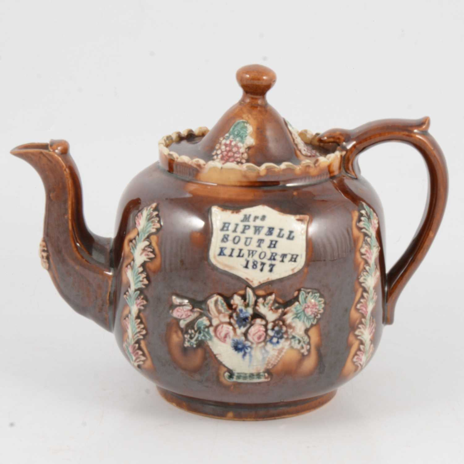 Lot 36 - A Victorian barge ware teapot
