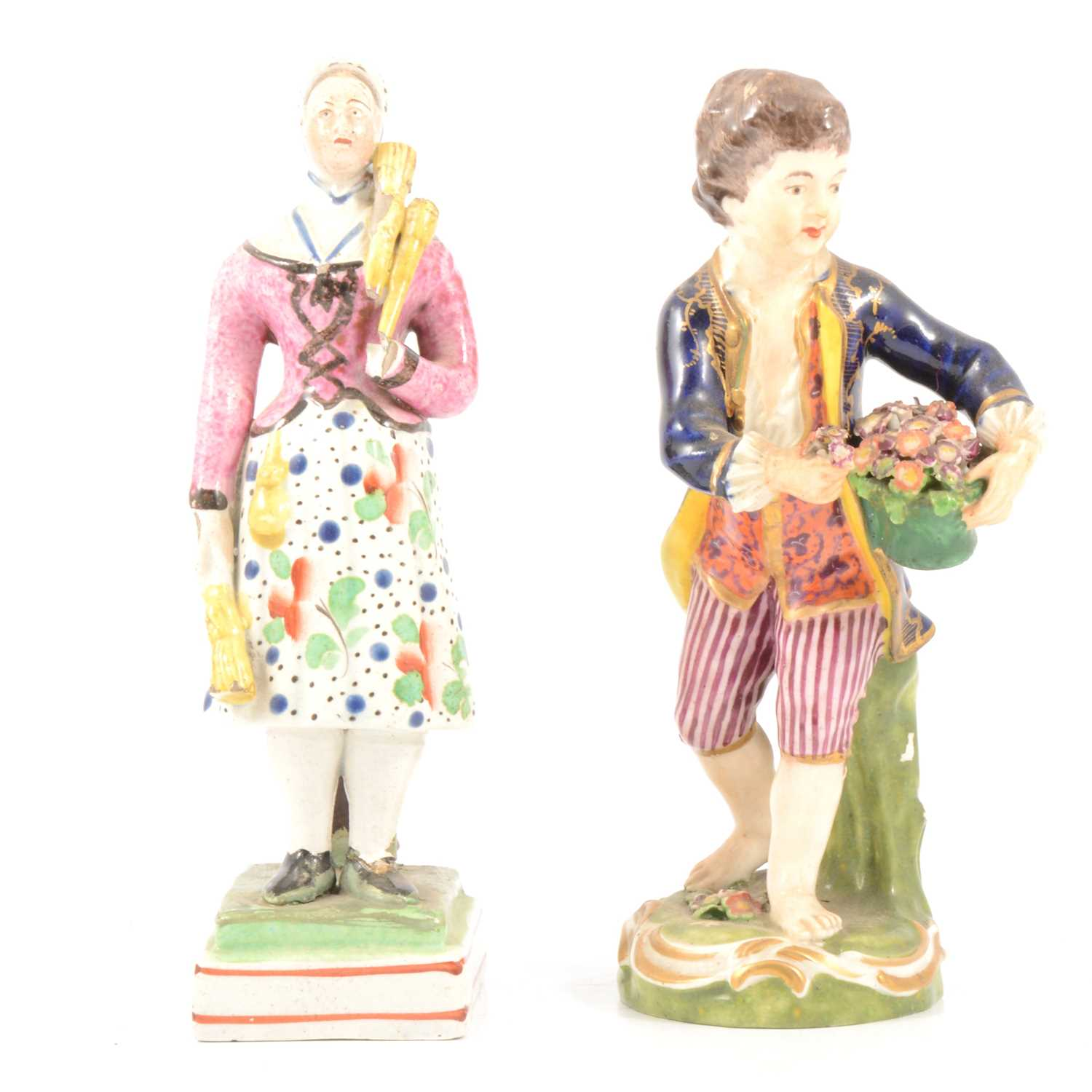 Lot 56 - Derby figure of a boy gardener, and a Pearlware figure