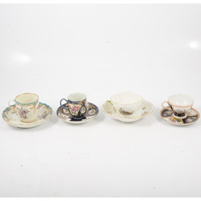 Lot 78 - Chelsea-Derby style cup and saucer, Meissen cup and saucer and others