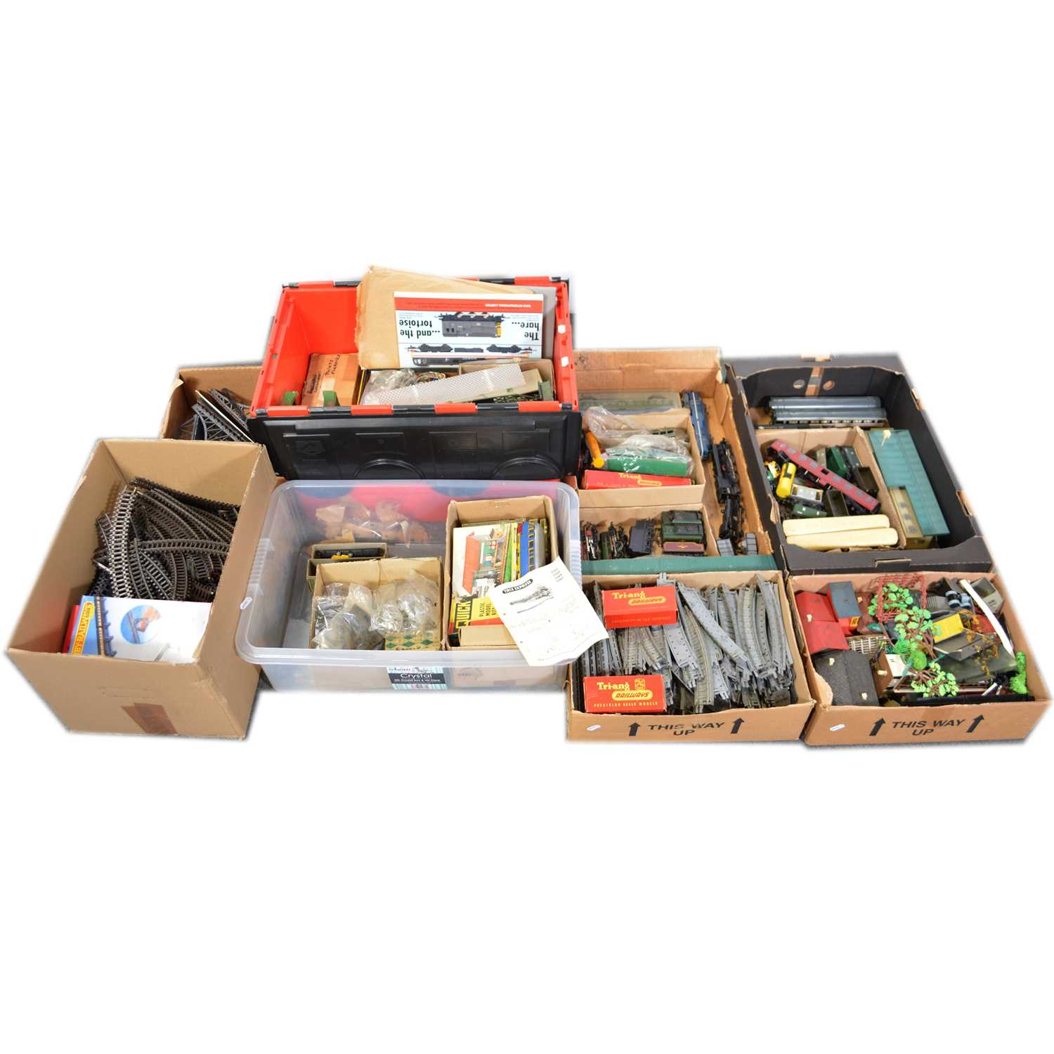Lot 30 - A large quantity of OO and HO gauge model railway, seven boxes.