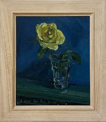 Lot 1118 - Roy Bizley, Still life with rose, 1955