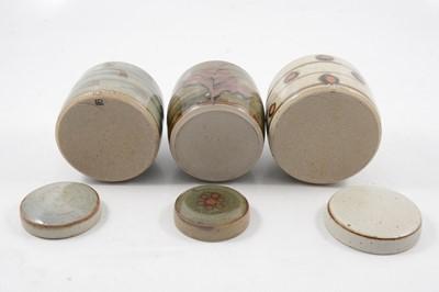 Lot 1044 - David Leach, three Lowerdown Pottery preserve jars and covers