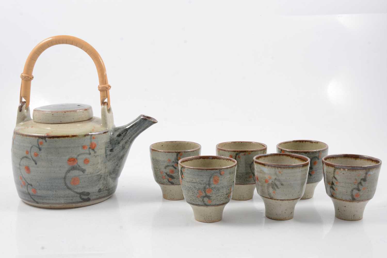 Lot 1043 - David Leach, a stoneware teapot and six tea bowls