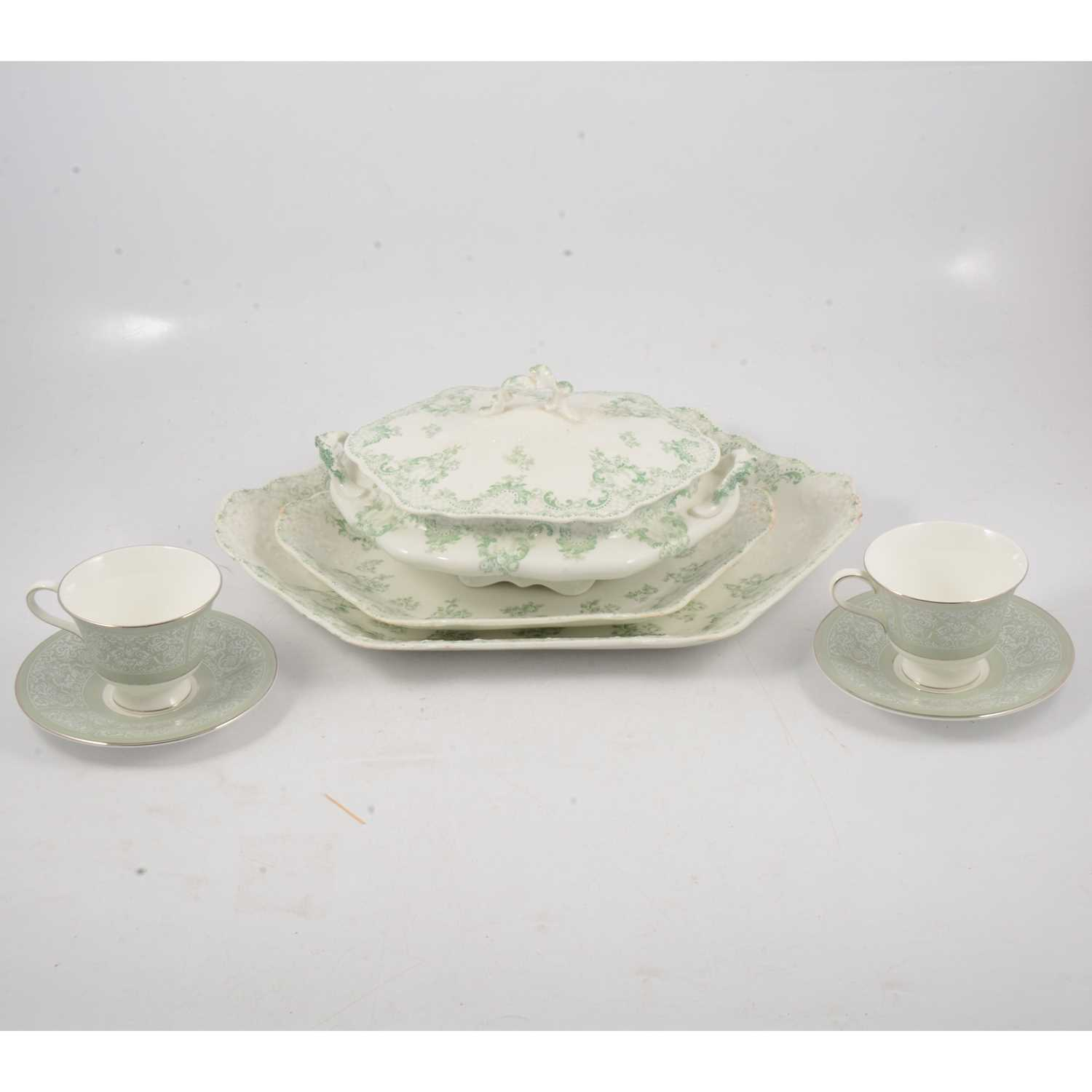 Lot 41 - Johnson Brothers green and white transfer printed ware.