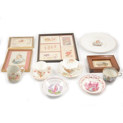 Lot 62 - Six French and greetings embroidered postcards, commemorative ceramics, postcard of Victoria.