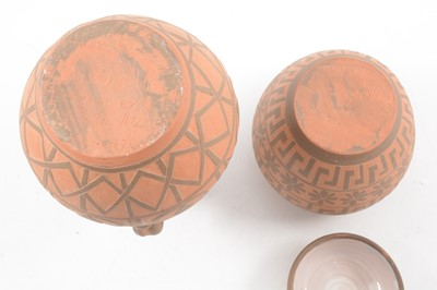Lot 1033 - Two terracotta and sgraffito vessels by William and Gaye Fishley Holland
