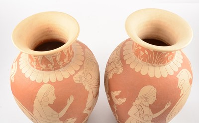 Lot 1034 - Pair of large terracotta and sgraffito vases by Gaye L G Love (Fishley Holland)