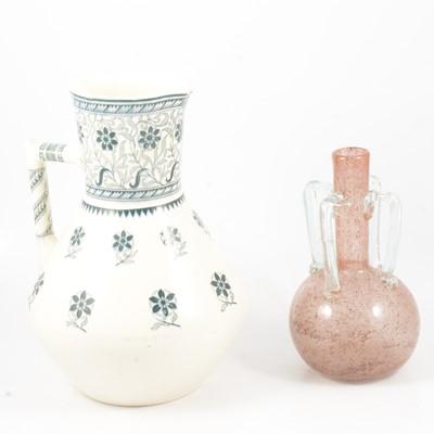 Lot 40 - Christopher Dresser for Minton wash jug, and glass vase