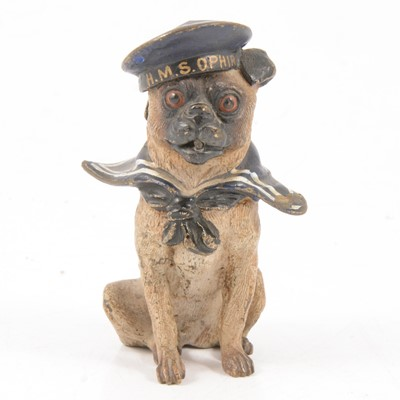 Lot 82 - Cold painted bronze model of a dog dressed as a sailor