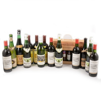 Lot 114 - Fourteen bottles of assorted table wines and a presentation case of half bottles