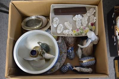 Lot 59 - Box of decorative ceramics including Nao figure, Chinese jardiniere, etc