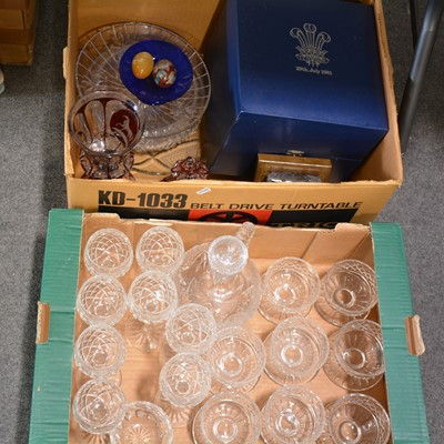 Lot 60 - Table glass and other glassware, two boxes including Waterford