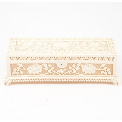 Lot 84 - Chinese carved ivory casket, late 19th century