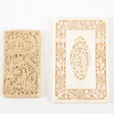Lot 86 - Two Cantonese carved ivory card cases, late 19th century