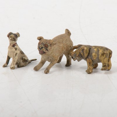 Lot 81 - Two miniature cold painted models of dogs, and a miniature elephant