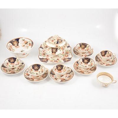 Lot 35 - Victorian Staffordshire part tea service, Imari pattern