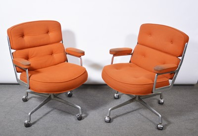 Lot 1079 - Charles and Ray Eames for Herman Miller, two armchairs, model ES104