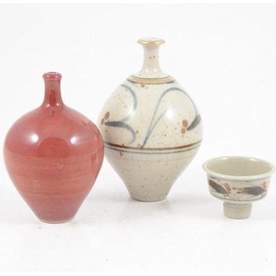 Lot 1039 - Derek Clarkson, three miniature porcelain vessels