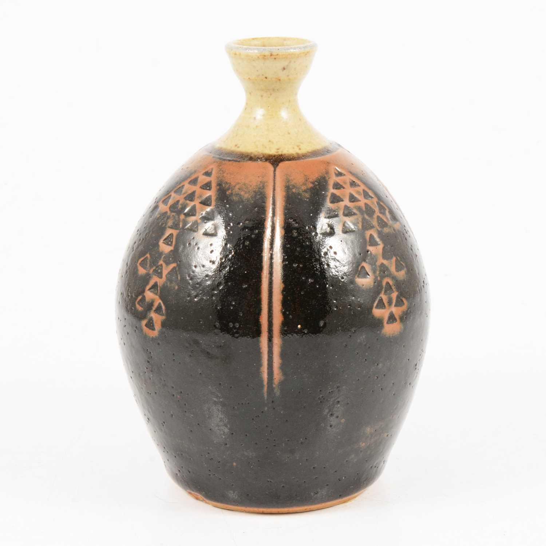 Lot 1038 - Derek Clarkson, a stoneware bottle vase