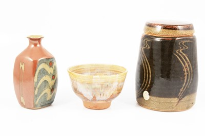 Lot 1037 - David Frith, a stoneware vase; a Ray Finch footed bowl, and another jar and cover.