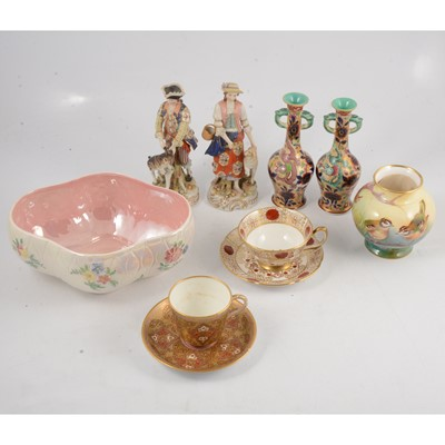 Lot 88 - A pair of continental figures and decorative china