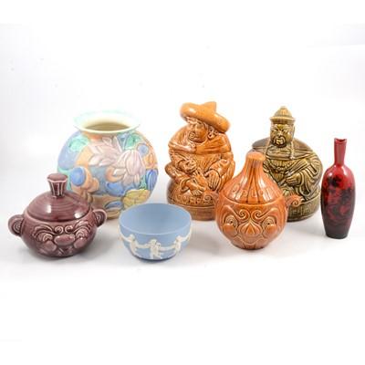 Lot 31 - Royal Doulton 'Woodcut' flambe vase, Wedgwood jasperware bowl, Sadler decorative jars and Beswick vase.
