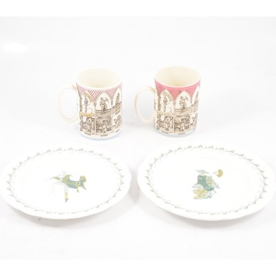 Lot 33 - Two Wedgwood of Etruria Gilbert and Sullivan Operas Mugs, two Royal Worcester Mikado plates.