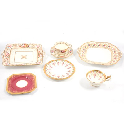Lot 65 - Pair of T Goode & Co sandwich plates, Radford's floral trio, Belleek milk jug and other cabinet items.