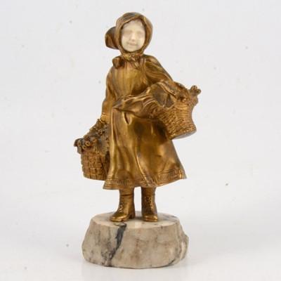 Lot 101 - Affirtunato Gory, gilt bronze and carved Ivory figure of a girl street vendor