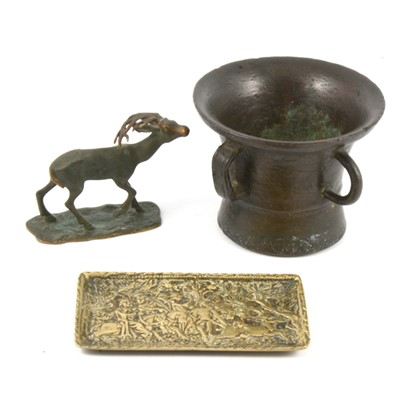 Lot 113 - A small bronze mortar and two other items of metalware